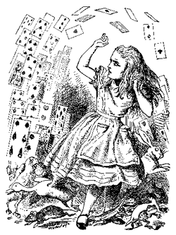 <em><strong>Figure 3:</strong> Too many levels of subclassing leads to too many dependencies and can fall like a house of cards—just ask Alice.</em>